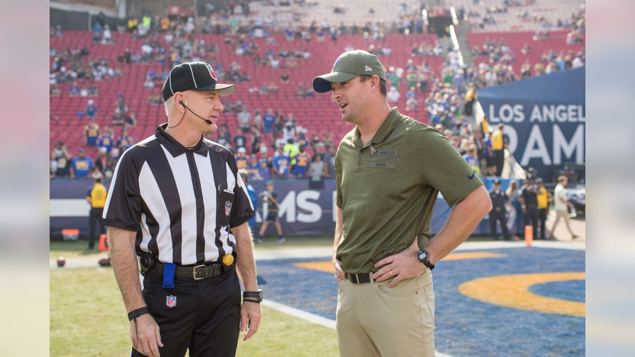 Quarterbacks coach Zac Taylor of the Los Angeles Rams speaks to an official before the Rams 36-31 victory over the Seahawks in an NFL Week 10 regular season football game, Sunday, November 11, 2018, in Los Angeles, CA. (Jeff Lewis/Rams)