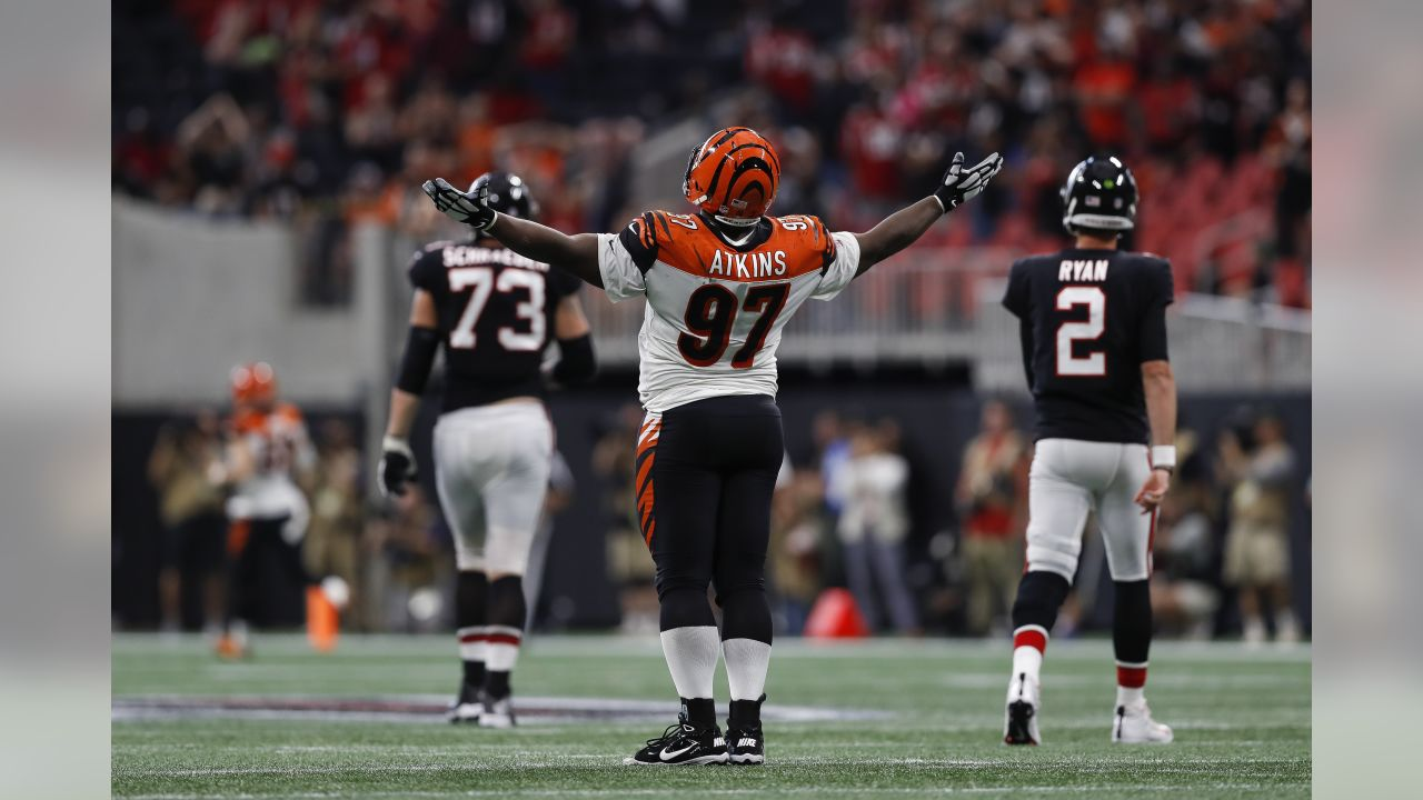 Cincinnati Bengals defensive tackle Geno Atkins (97) celebrates during a week 4 NFL football game against the Atlanta Falcons on Sunday, Sept. 30, 2018 in Atlanta. Cincinnati won 37-36. (Aaron M. Sprecher via AP)