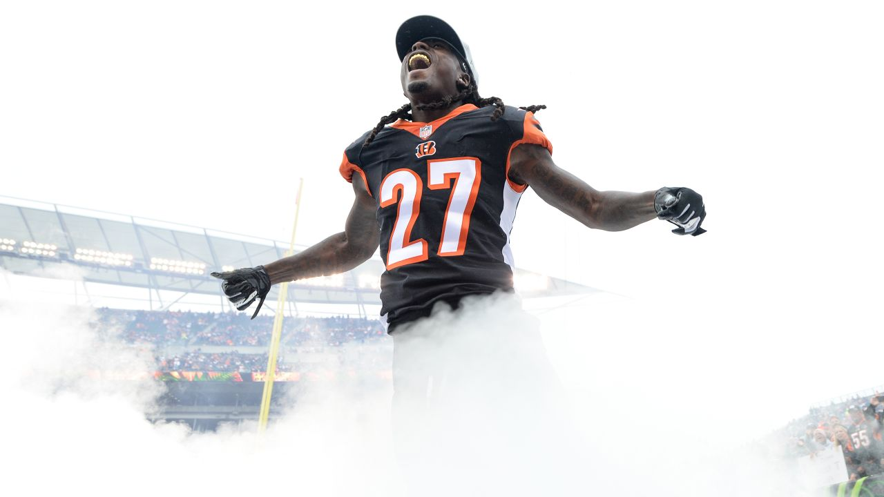 Cincinnati Bengals defensive back Dre Kirkpatrick (27) reacts as he runs onto the field prior to an NFL football game against the Pittsburgh Steelers, Sunday, Oct. 14, 2018 in Cincinnati. (NFL Photos via AP)