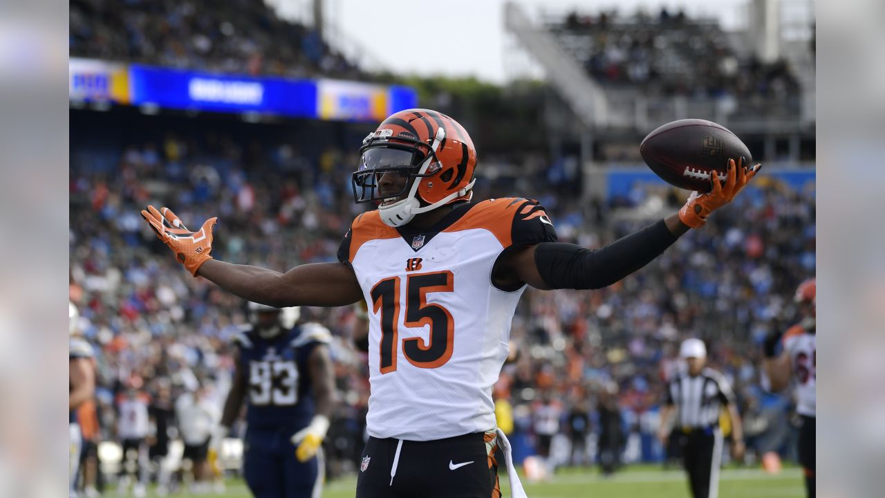 Cincinnati Bengals wide receiver John Ross (15) celebrates after scoring a touchdown against the Los Angeles Chargers during the first half of an NFL football game Sunday, Dec. 9, 2018, in Carson, Calif. (AP Photo/Mark J. Terrill)