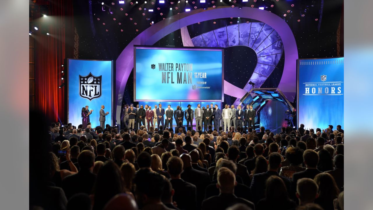 The nominees for the Walter Peyton NFL man of the year award appear on stage at the 8th Annual NFL Honors at The Fox Theatre on Saturday, Feb. 2, 2019, in Atlanta. (Photo by Paul Abell/Invision for NFL/AP Images)