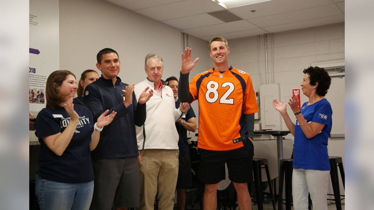 Jeff Heuerman during the Denver Day of Service at Food Bank of the Rockies in Denver, Colorado, June 07, 2019.Photo by Gabriel Christus