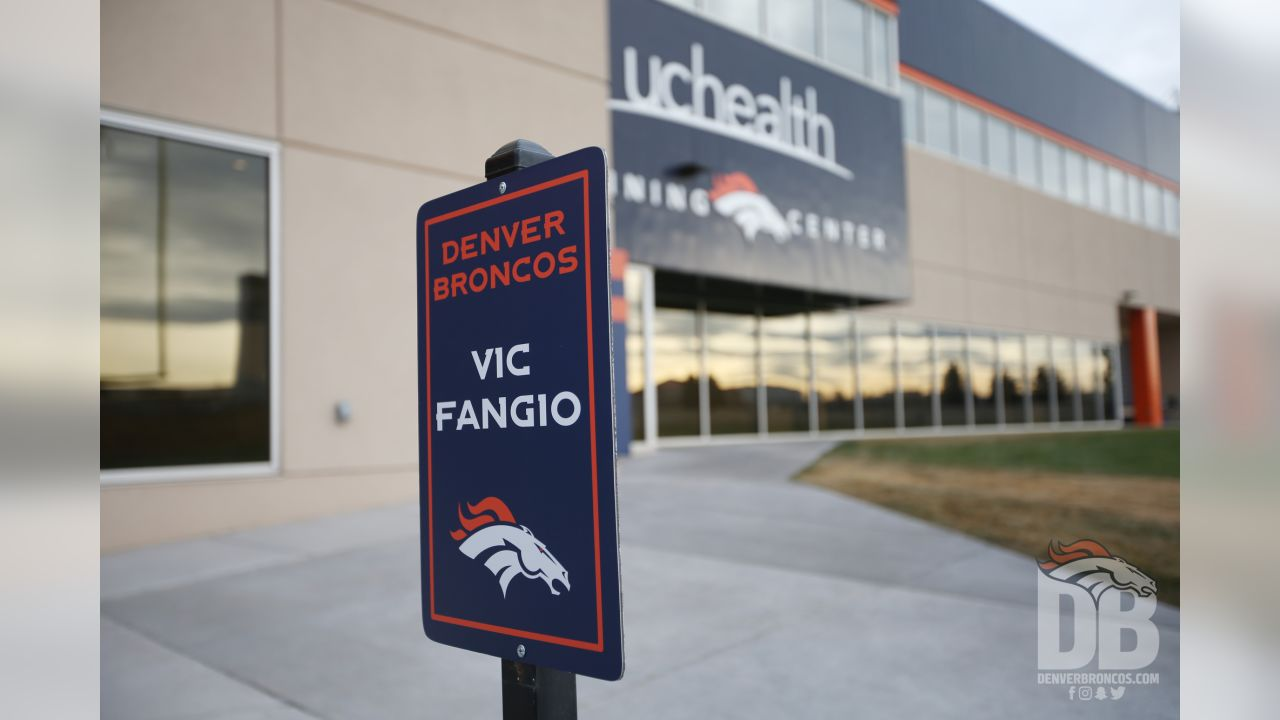 The sign for new Broncos Head Coach Vic Fangio's parking spot.