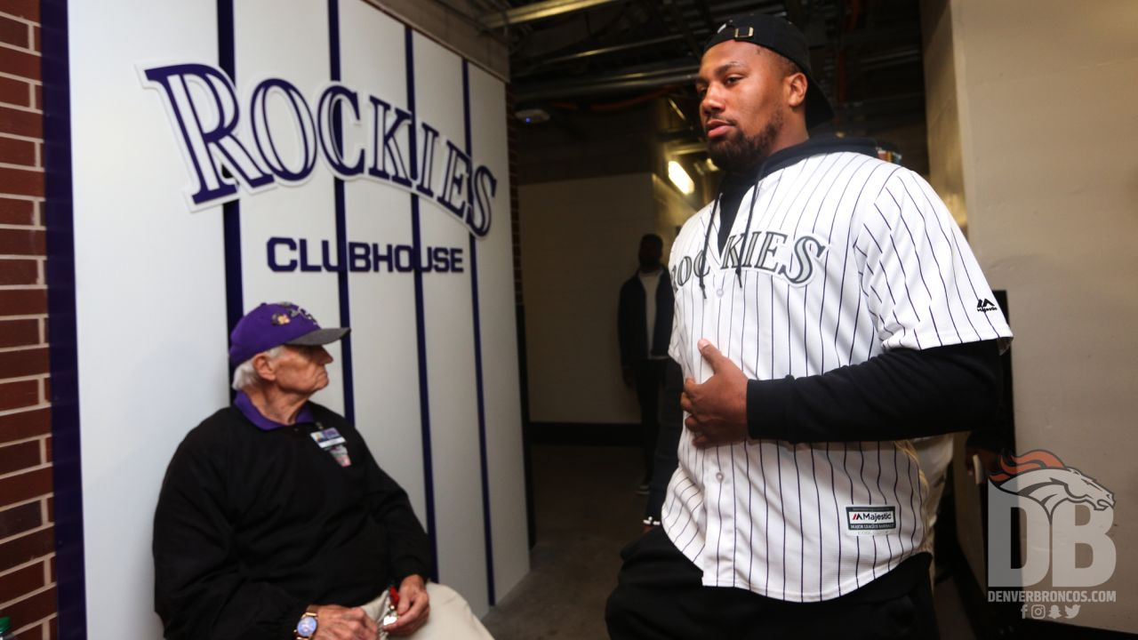 Bradley Chubb prepares walks to the entrance during a visit to the Colorado Rockies' clubhouse at Coors Field on May 29, 2019.