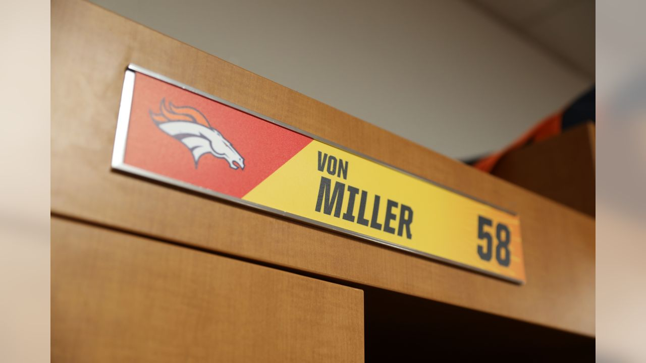 fd2f8dfaa98 Von Miller s nameplate in the locker room at the 2019 Pro Bowl at Camping  World Stadium