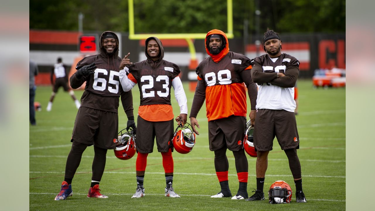 Defensive tackle Larry Ogunjobi (65), Safety Damarious Randall (23), Defensive tackle Sheldon Richardson (98) and Linebacker Christian Kirksey (58) during the fifth practice of OTAs on May 22, 2019.