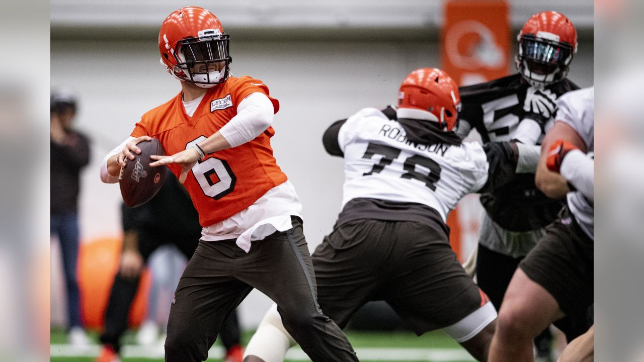 Quarterback Baker Mayfield (6) during the sixth practice of OTAs on May 23, 2019.