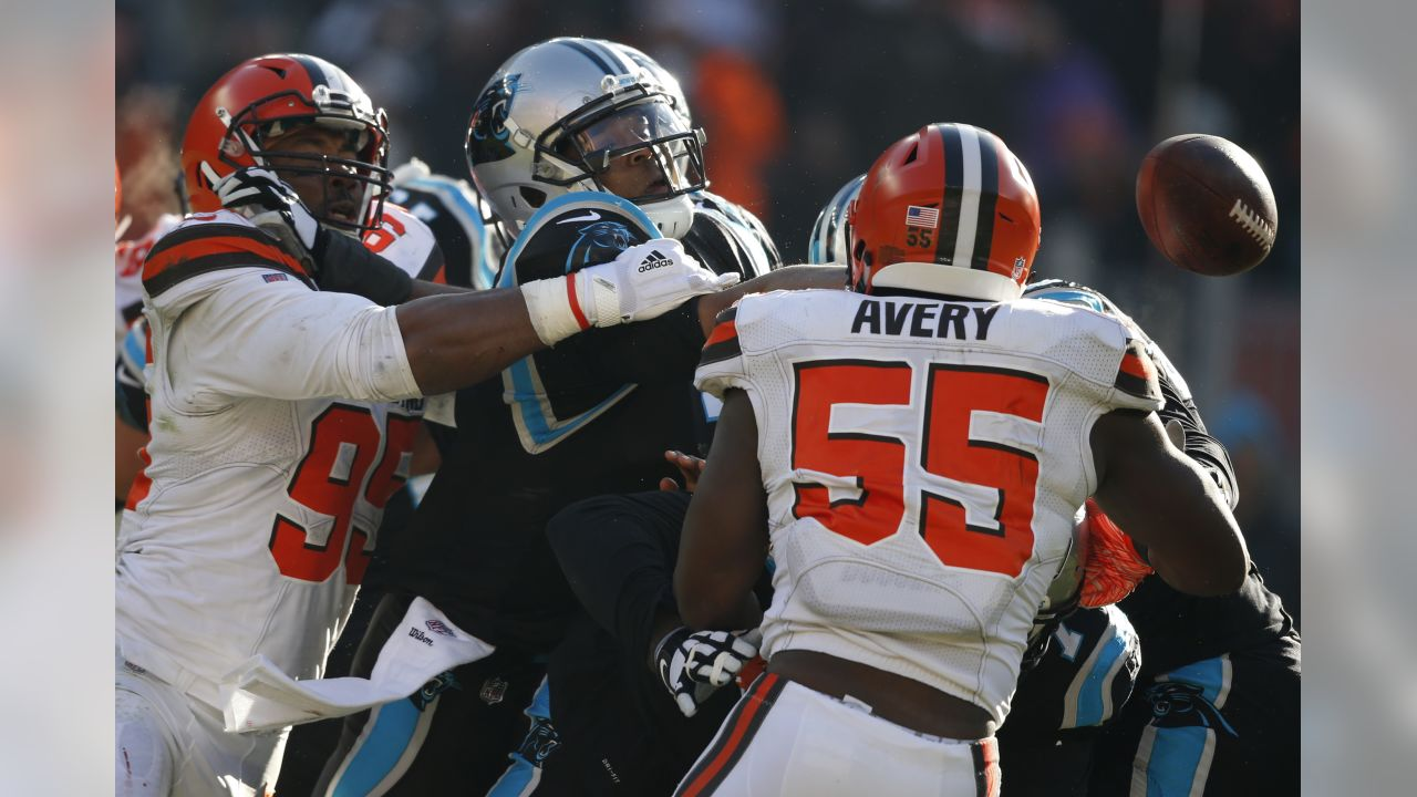 Cleveland Browns defensive end Myles Garrett (95) knock the ball loose from Carolina  Panthers 73d4eb946