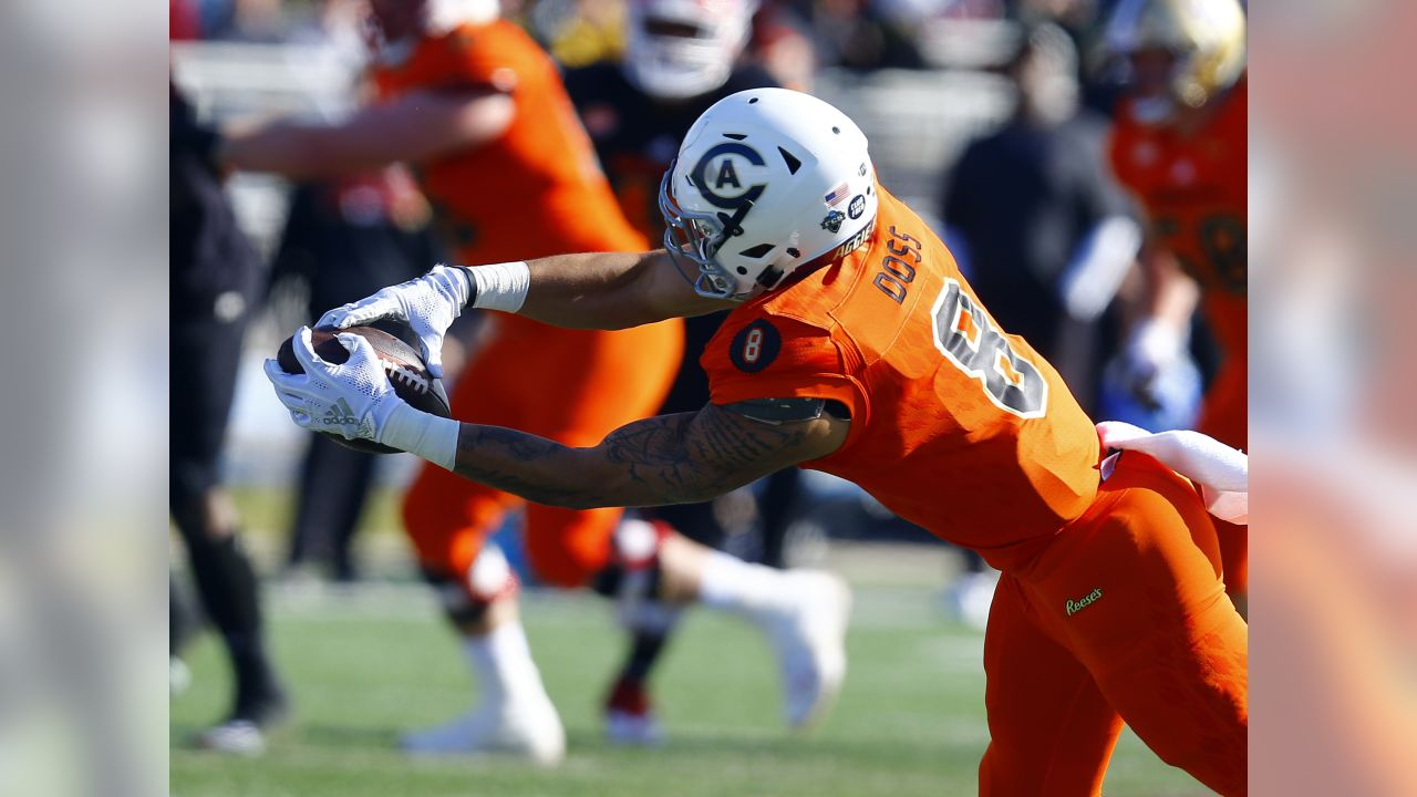 North wide receiver Keelan Doss of UC Davis (8) makes a diving catch during the first half of the Senior Bowl college football game, Saturday, Jan. 26, 2019, in Mobile, Ala. (AP Photo/Butch Dill)