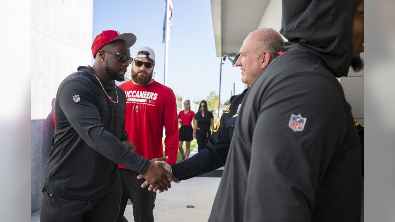 TAMPA, FL - SEPTEMBER 18, 2018 - Defensive Tackle Gerald McCoy #93 during the launch of Social Justice Initiative at the Tampa Police Department Citizens Academy in Tampa, FL. Photo By Kyle Zedaker/Tampa Bay Buccaneers