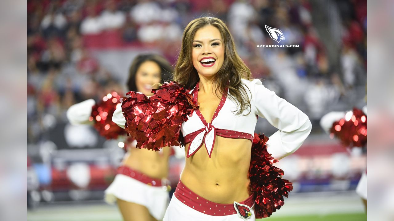 Images of the Cardinals cheerleaders during the first half of the preseason opener against the Chargers