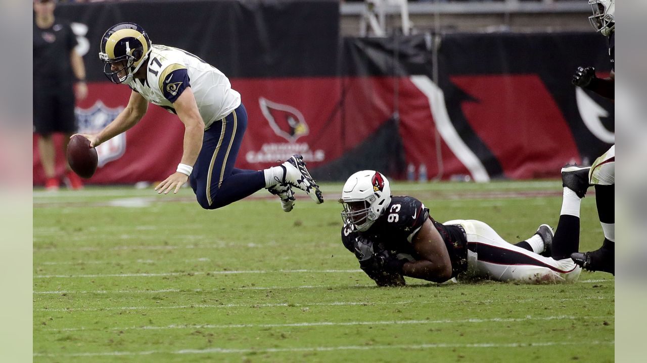 Los Angeles Rams quarterback Case Keenum (17) is tackled by Arizona  Cardinals defensive end c53bb05b8