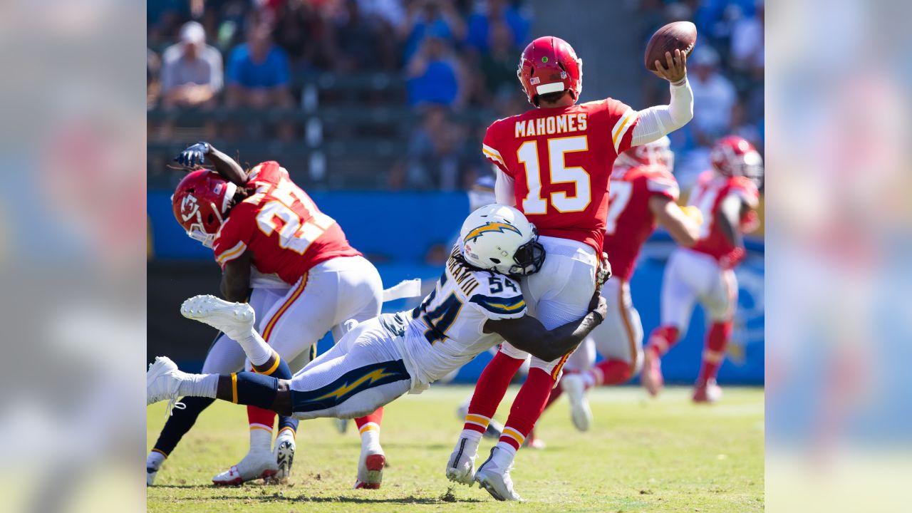 Melvin Ingram sacks quarterback Patrick Mahomes vs Kansas City Chiefs at StubHub Center on Sunday, September 09.
