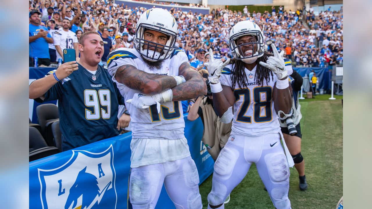 "**1 - Slayer & Flash** \- ""Most big plays have a celebration that photographs better than what you see on TV. This image of Keenan Allen and Melvin Gordon almost in the stands and getting as close to the fans as possible is one of my favorite celebration images."""