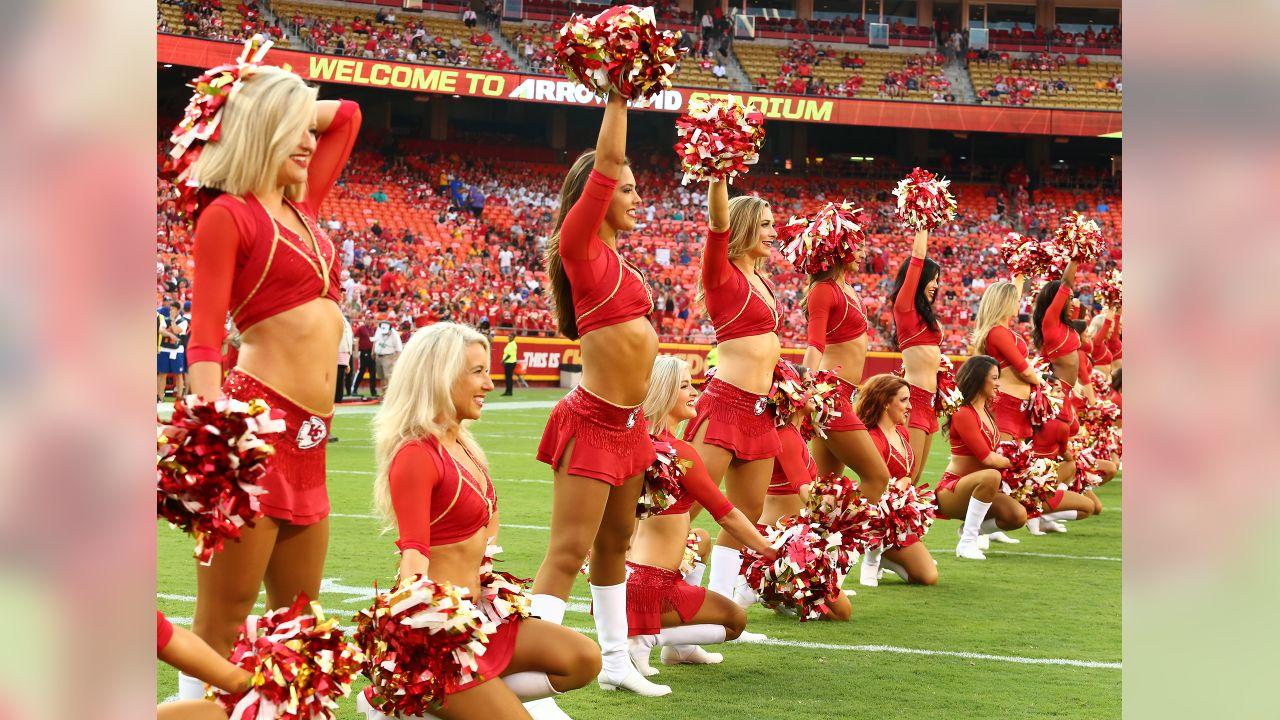 Cheerleaders before Texans at Chiefs at Arrowhead Stadium on 8/9/18.