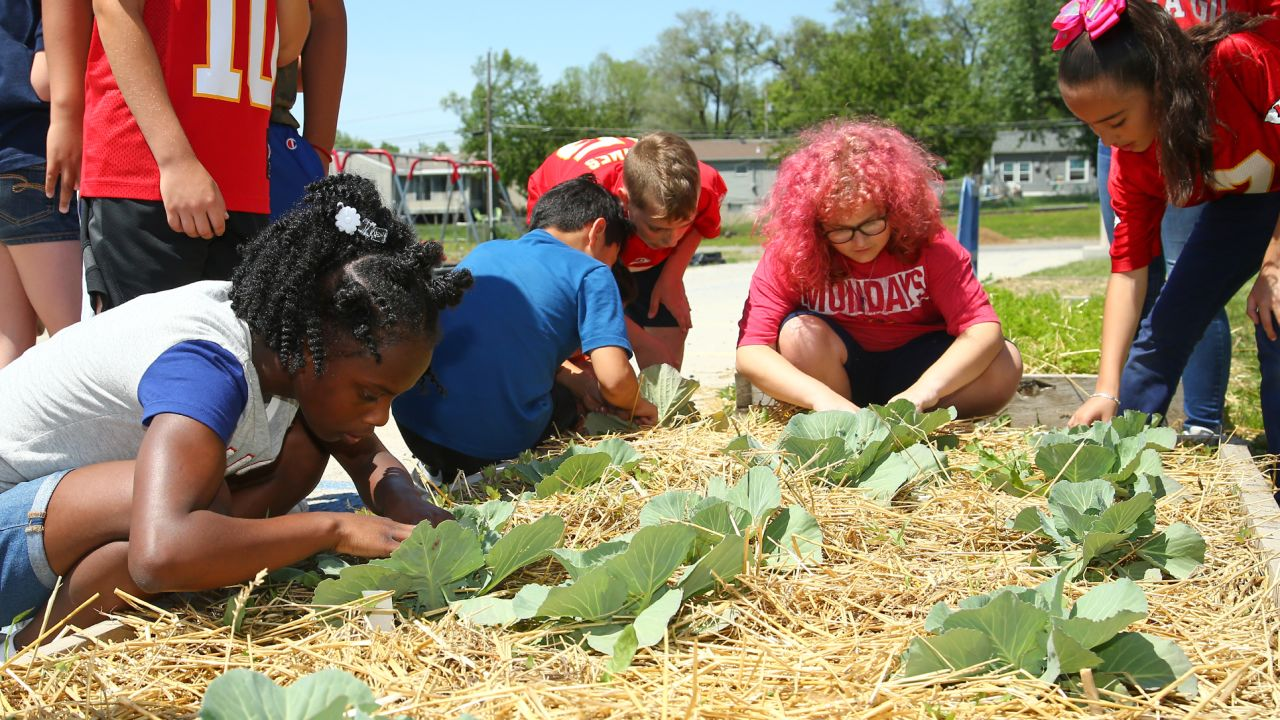 The Kansas City Chiefs wide receivers joined Kansas City Community Gardens (KCCG) at Stony Point North Elementary to help students plant a garden at the school.