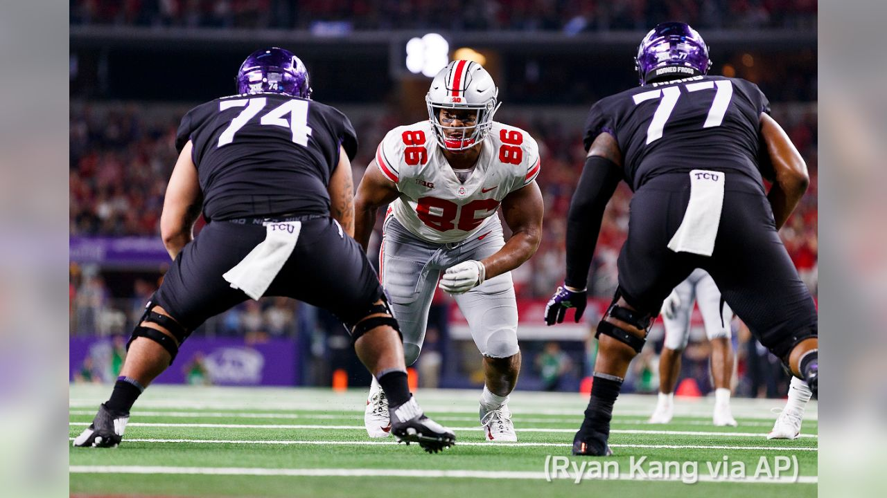"""**_Selection: Dre'Mont Jones, DT, Ohio State_**  Expert: Dan Kadar, SB Nation  **Analysis:**_The Colts need players more suited for a 4-3 defense up front. Jones may be attractive as a player who fits on the inside and provides some pass rush._"""""""