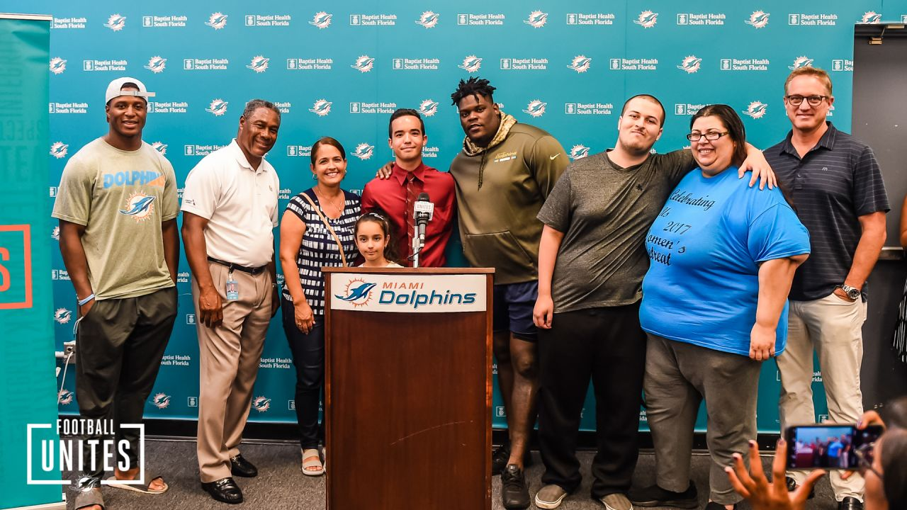 Miami Dolphins CEO Tom Garfinkel, SVP Nat Moore, RB Kenyan Drake and DT Vincent Taylor with 2019 Nat Moore Endowment Fund Recipients