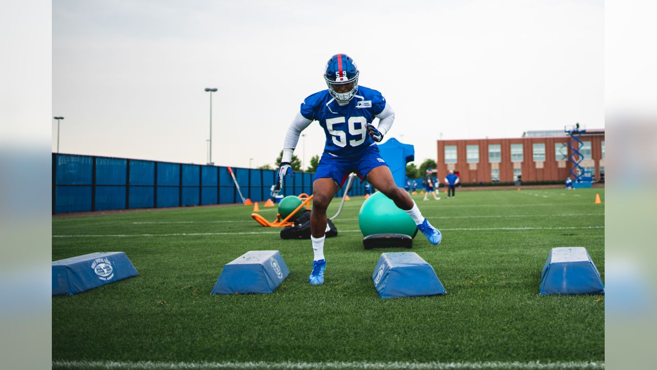 LB Lorenzo Carter at New York Giants Mini Camp at Quest Diagnostics Training Center in East Rutherford, NJ