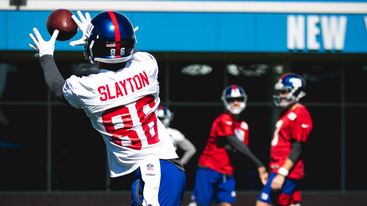 WR DARIUS SLAYTON: The rookie fifth-round draft pick has flashed his sub-4.4 speed in spring practices and will look to do the same in minicamp. Behind free-agent addition Golden Tate and Sterling Shepard, who signed an extension this offseason, the competition for the third wide receiver spot will be one to watch. Also keep an eye on the likes of Cody Latimer, Corey Coleman and Bennie Fowler.