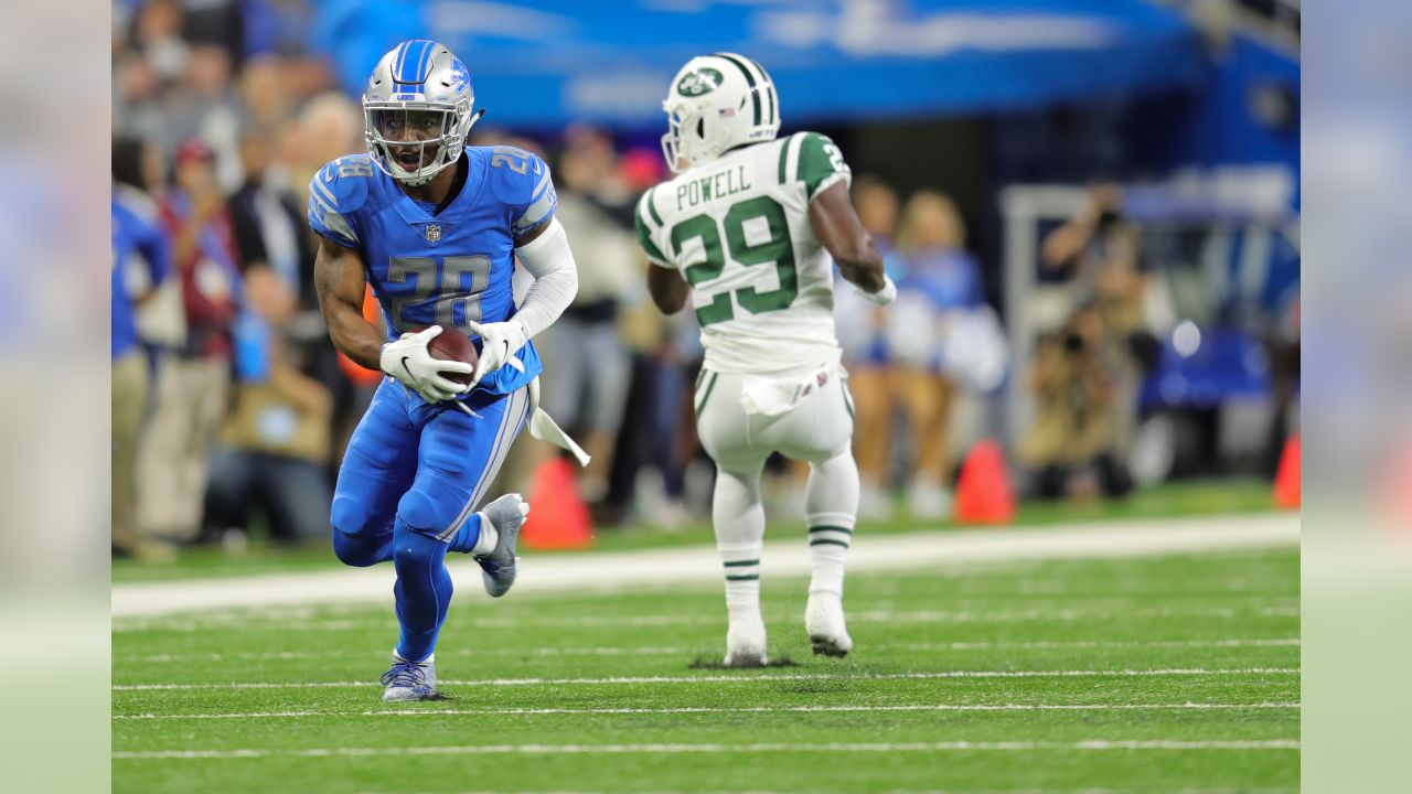 Detroit Lions defensive back Quandre Diggs (28) returns an interception for a touchdown during a NFL football game against the New York Jets on Monday, Sept. 10, 2018 in Detroit. (Detroit Lions via AP).