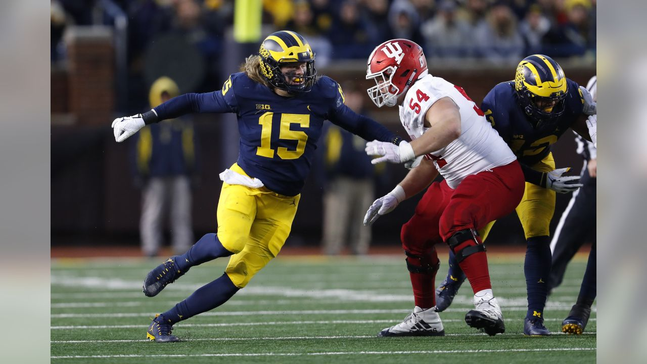 Michigan defensive lineman Chase Winovich (15) rushes Indiana offensive lineman Coy Cronk (54) in the first half of an NCAA college football game in Ann Arbor, Mich., Saturday, Nov. 17, 2018. (AP Photo/Paul Sancya)