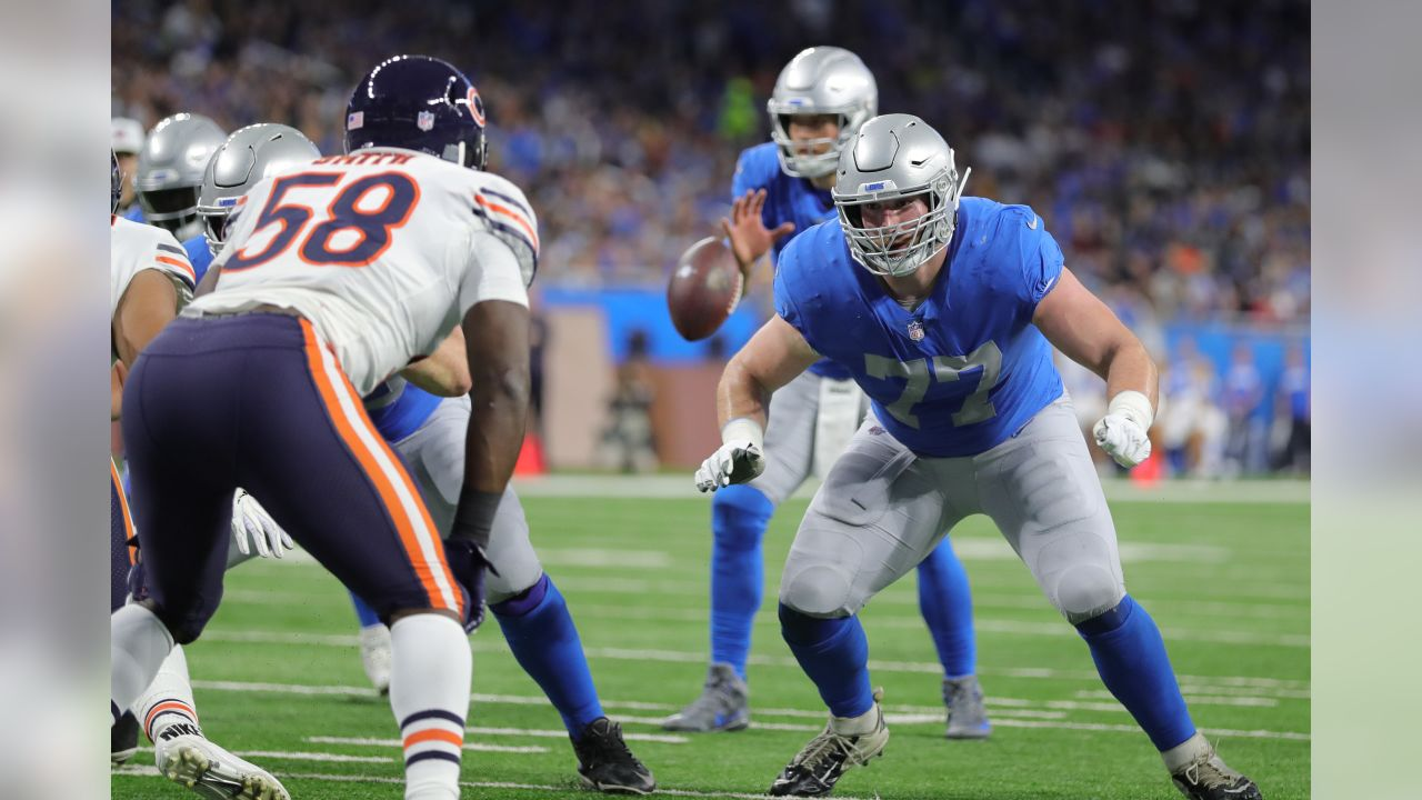Detroit Lions offensive lineman Frank Ragnow (77) during a NFL football game against the Chicago Bears on Thursday, Nov. 22, 2018 in Detroit. (Detroit Lions via AP).