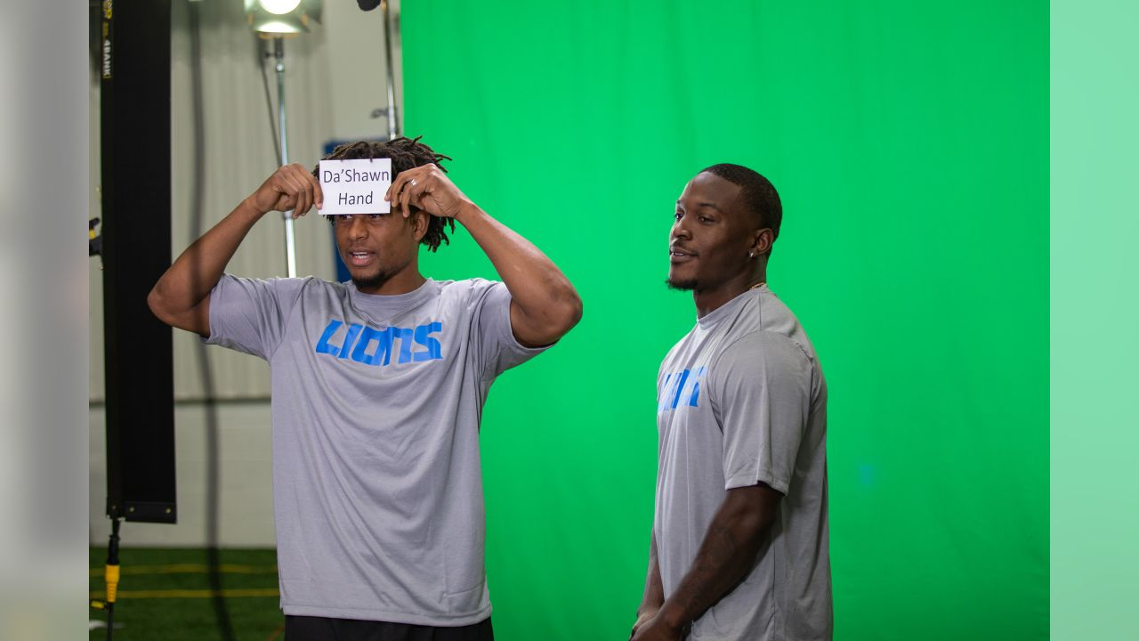 Detroit Lions safety Charles Washington and Detroit Lions wide receiver Brandon Powell at media day on Monday, June 3, 2019 in Allen Park, Mich.