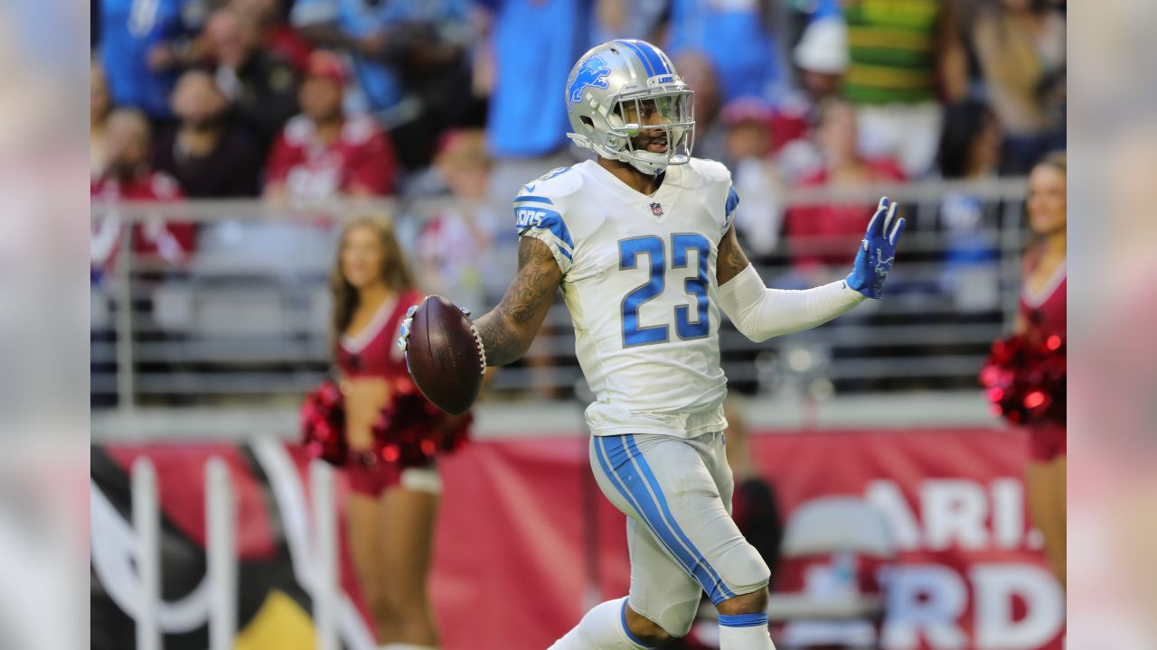 Detroit Lions cornerback Darius Slay (23) intercepts a pass and returns it for a touchdown during a NFL football game against the Arizona Cardinals on Sunday, Dec. 9, 2018 in Glendale, Ariz. (Detroit Lions via AP).