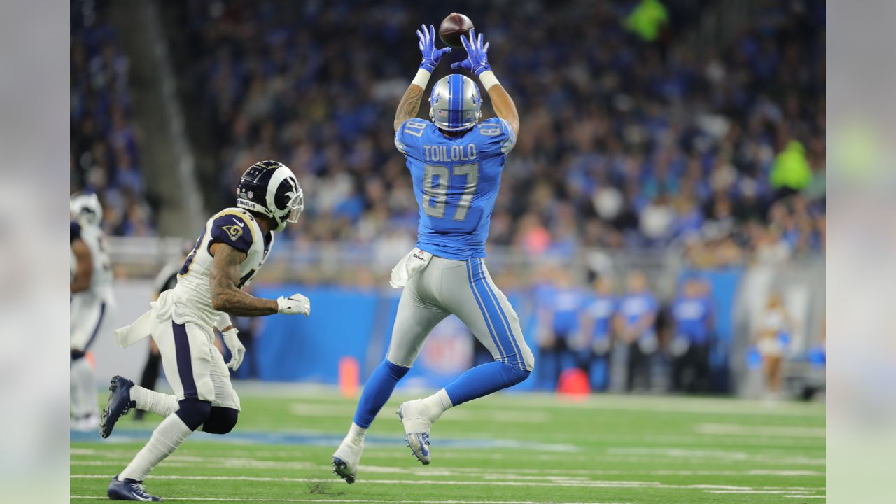 Detroit Lions tight end Levine Toilolo (87) during a NFL football game against the Los Angeles Rams on Sunday, Dec. 2, 2018 in Detroit. (Detroit Lions via AP).