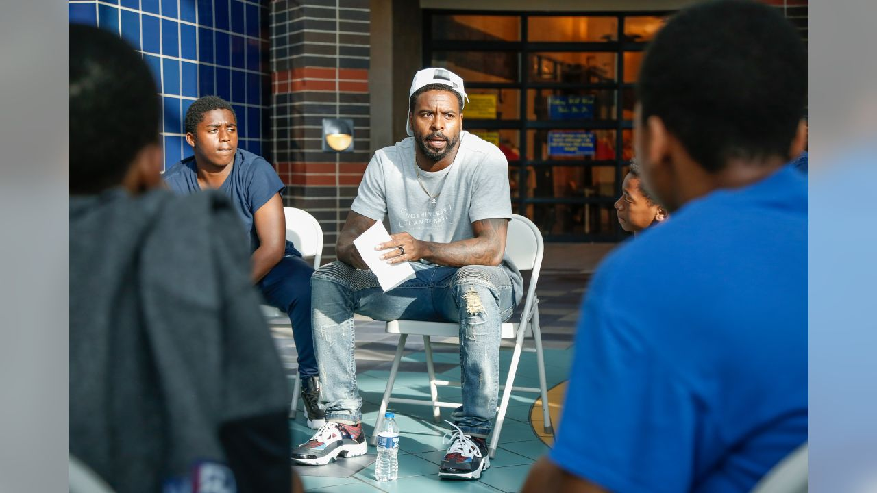 Tavon Wilson joins participants for a conversation on social resilience at on Thursday, June 7, 2019 in Detroit.