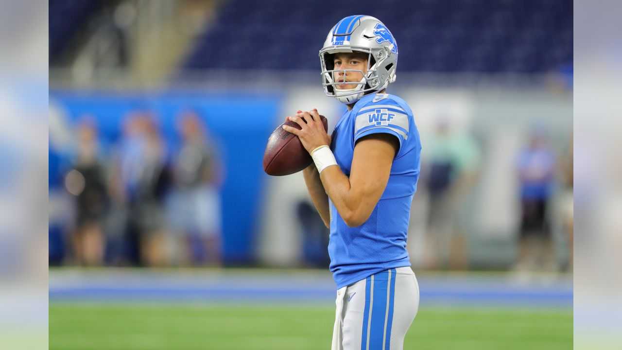 Detroit Lions quarterback Matthew Stafford (9) during pregame warmups before a NFL preseason football game again vs. the New York Jets on Saturday, Aug. 19, 2017 in Detroit. (Detroit Lions via AP)