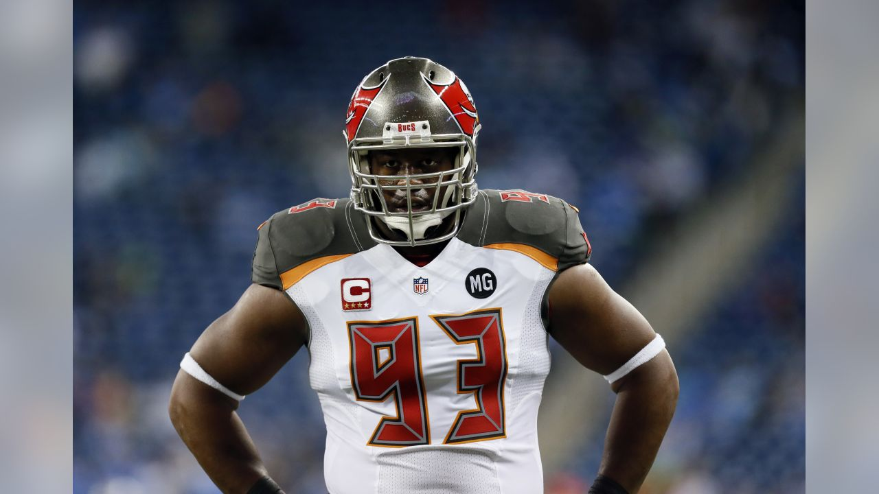 Tampa Bay Buccaneers defensive tackle Gerald McCoy watches during pre-game warmups of an NFL football game against the Detroit Lions in Detroit, Sunday, Dec. 7, 2014. (AP Photo/Paul Sancya)