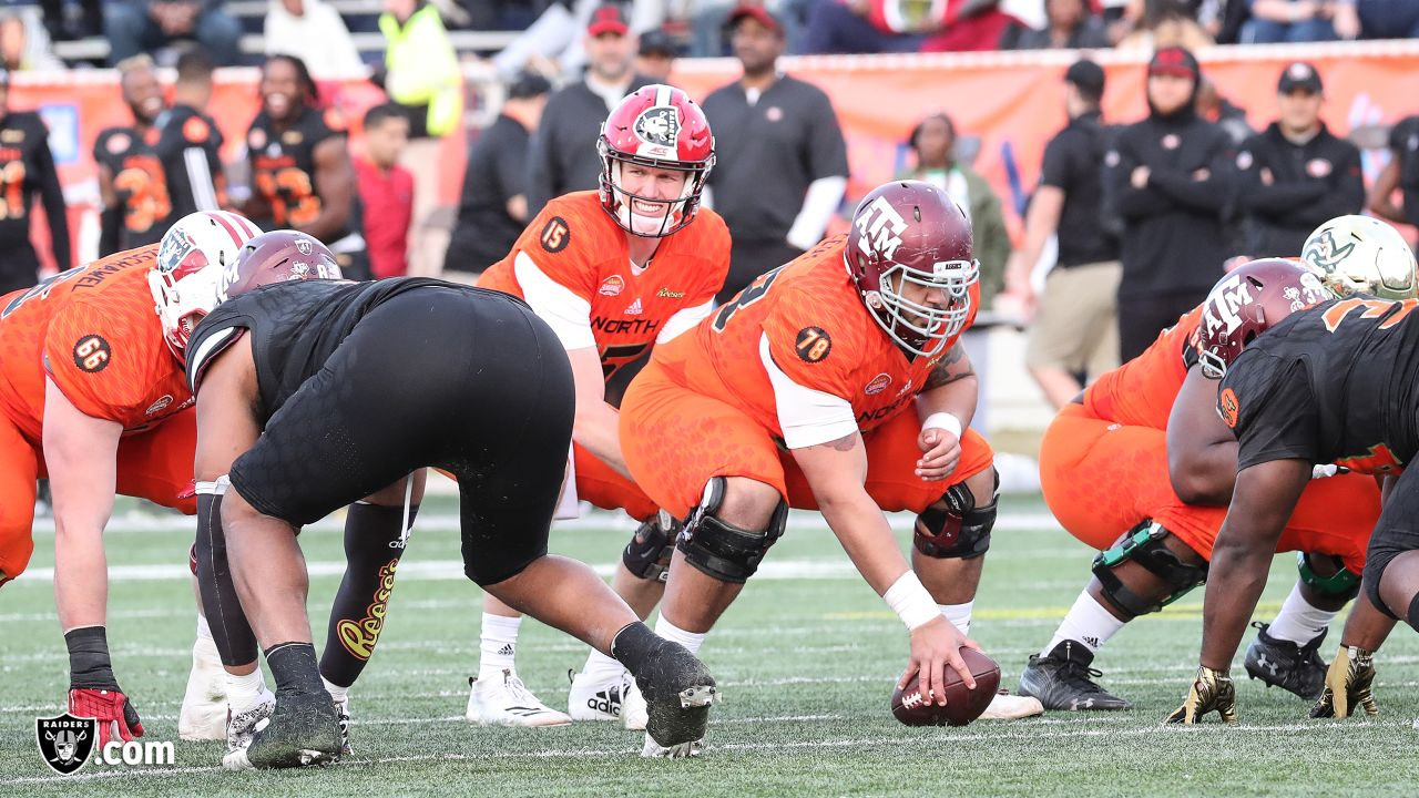 Game action of the 2019 Senior Bowl at Ladd-Peebles Stadium, Saturday, January 26, 2019, in Mobile, Alabama.