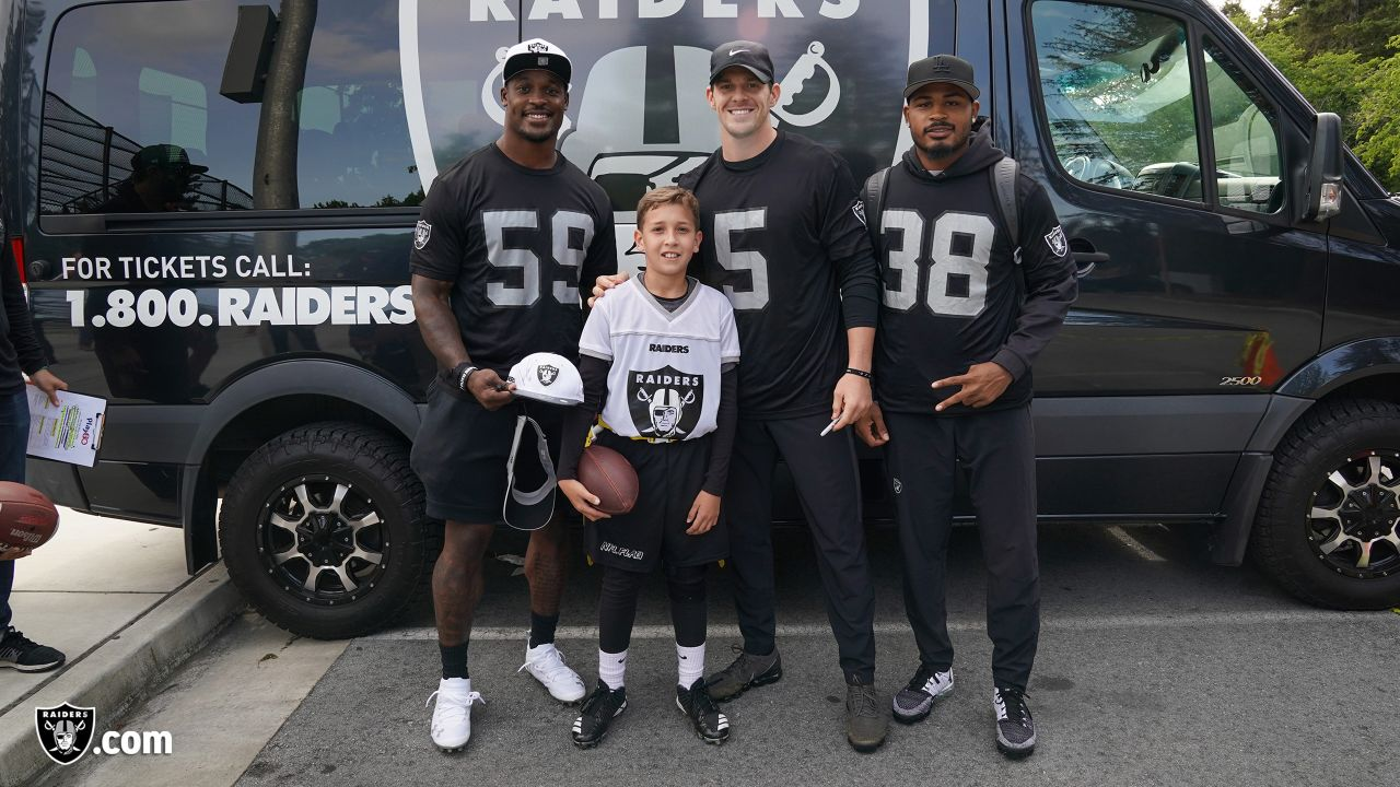 The Raiders, represented by safeties Erik Harris, Johnathan Abram and Dallin Leavitt, linebacker Tahir Whitehead, cornerbacks Keisean Nixon and Montrel Meander, defensive tackle Justin Ellis, punter Johnny Townsend, assistant defensive backs coach Taver Johnson, and senior defensive assistant coach Jim O'Neil, travel to the Silicon Valley to show support for NFL FLAG Silicon Valley Football League at John Mise Park, Friday, May 17, 2019, in San Jose, Calif.