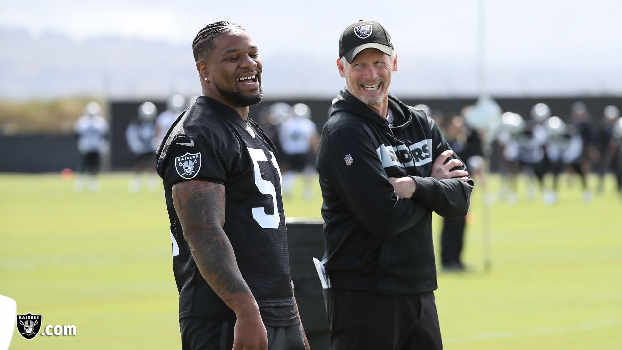 Raiders linebacker Vontaze Burfict (51) and general manager Mike Mayock at an Organized Team Activity (OTA) at the Raiders Practice Facility in Alameda, Calif.