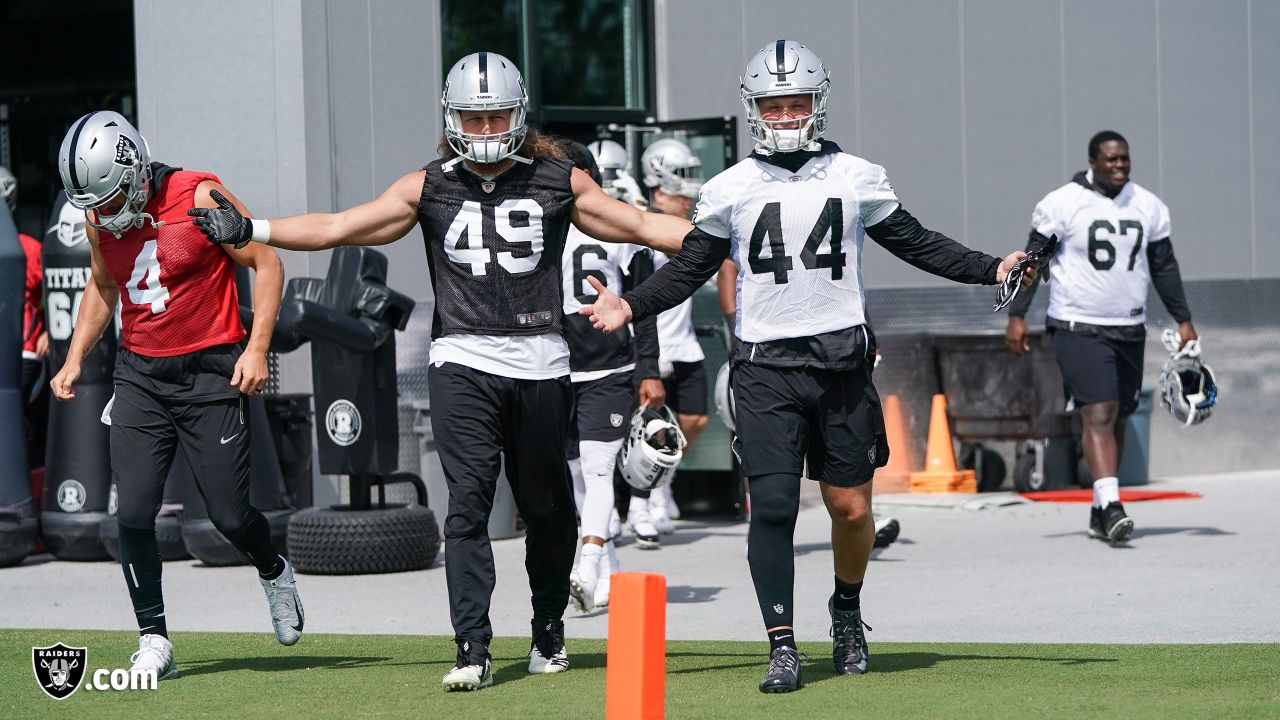 Raiders linebacker/defensive end James Cowser (49) and fullback Ryan Yurachek (44) at an Organized Team Activity (OTA) at the Raiders Practice Facility in Alameda, Calif.