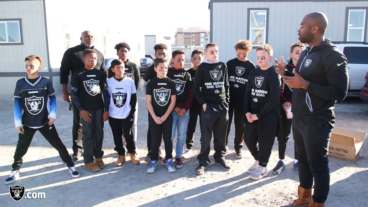 The Raiders and alumnus Roy Hart host the Apex Raiders, a flag football team who represented the Raiders at the 2019 NFL FLAG National Championships in Orlando, Fla., on a stadium tour of the Las Vegas Stadium, Friday, February 8, 2019, in Las Vegas, Nev.
