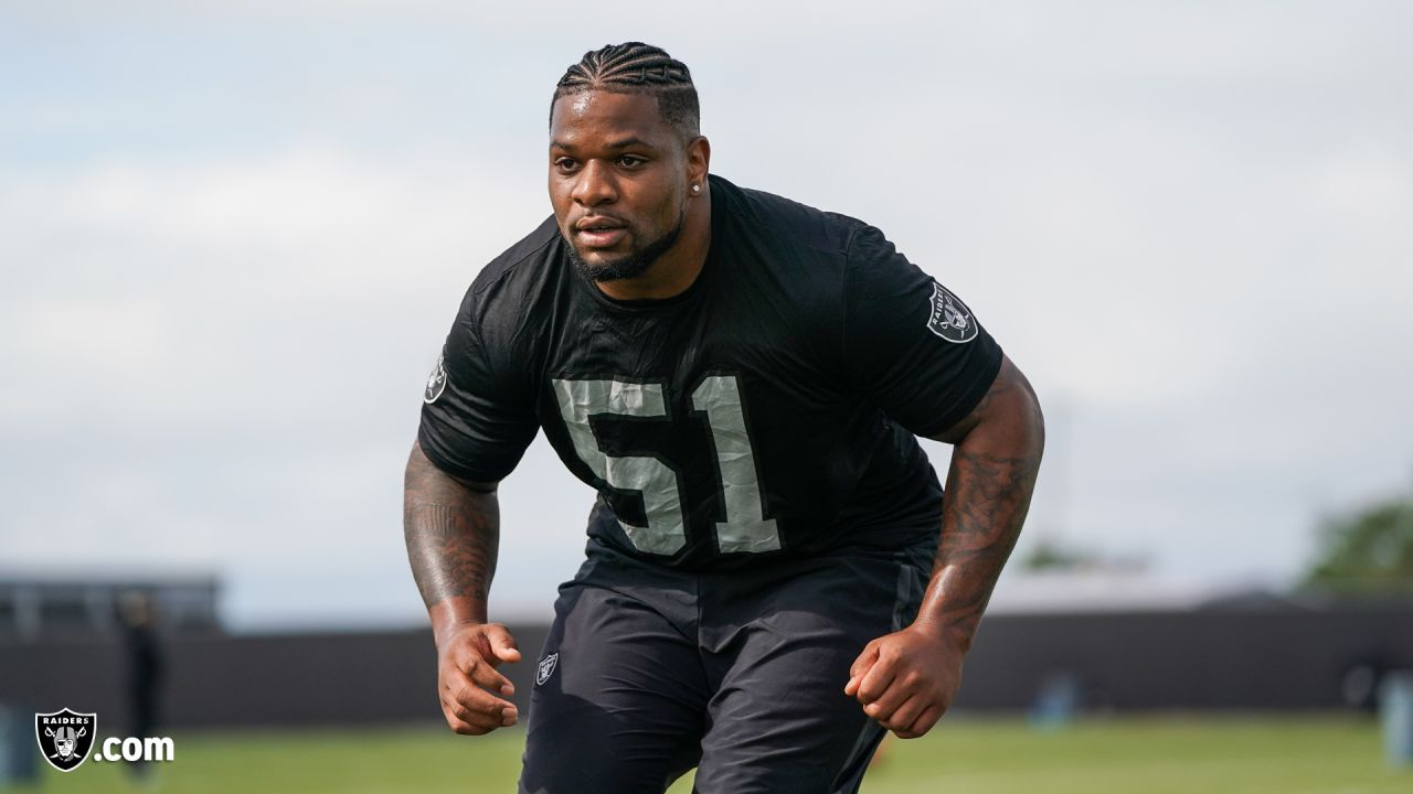 Raiders linebacker Vontaze Burfict at a workout during phase two of the offseason program at the Raiders Practice Facility in Alameda, Calif.