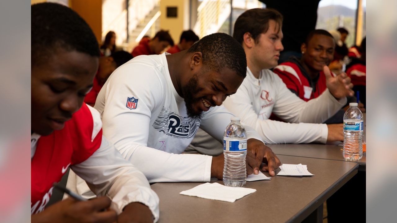 Los Angeles Rams running back John Kelly (42) along with other players and staff of the Los Angeles Rams attends a leadership session held with aims of breaking socioeconomic barriers between two high schools with varying demographics with RISE (Ross Initiative in Sports for Equality) on September 17th, 2018 at Oaks Christian School in Westlake Village, Calif (Rams/Hiro Ueno)