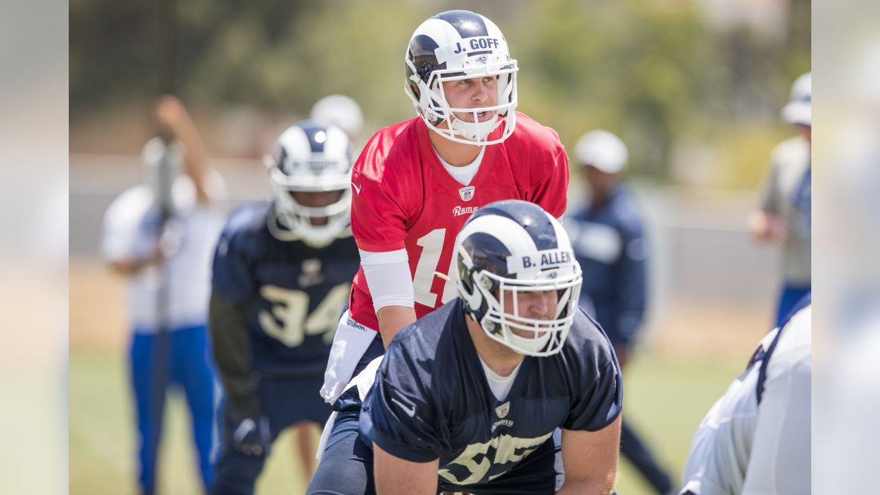 Quarterback (16) Jared Goff of the Los Angeles Rams practices during Mini Camp, Tuesday, June 11, 2019, in Thousand Oaks, CA. (Jeff Lewis/Rams)