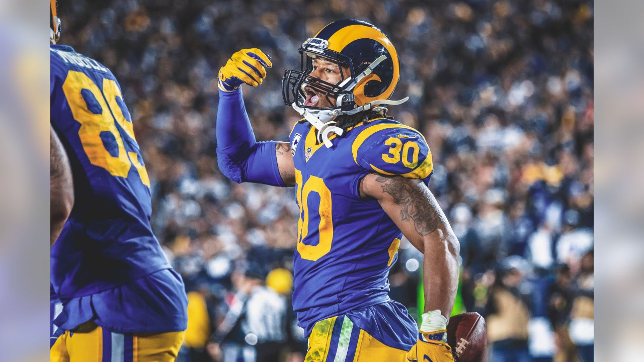 Los Angeles Rams running back Todd Gurley (30) celebrates a touchdown during an NFL Divisional playoff game against the Dallas Cowboys on January 12th, 2019at the Memorial Coliseum in Los Angeles, Calif. (Hiro Ueno/Rams)