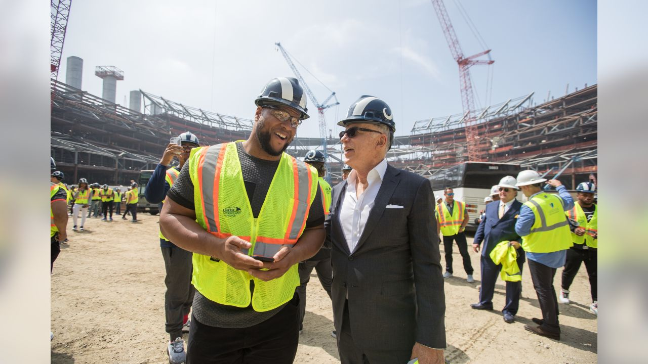 Owner Stan Kroenke and (93) Ndamukong Suh of the Los Angeles Rams speak while on a tour with the team of the new Inglewood Stadium site, Thursday June 14, 2018, in Inglewood, CA. (Jeff Lewis/Rams)
