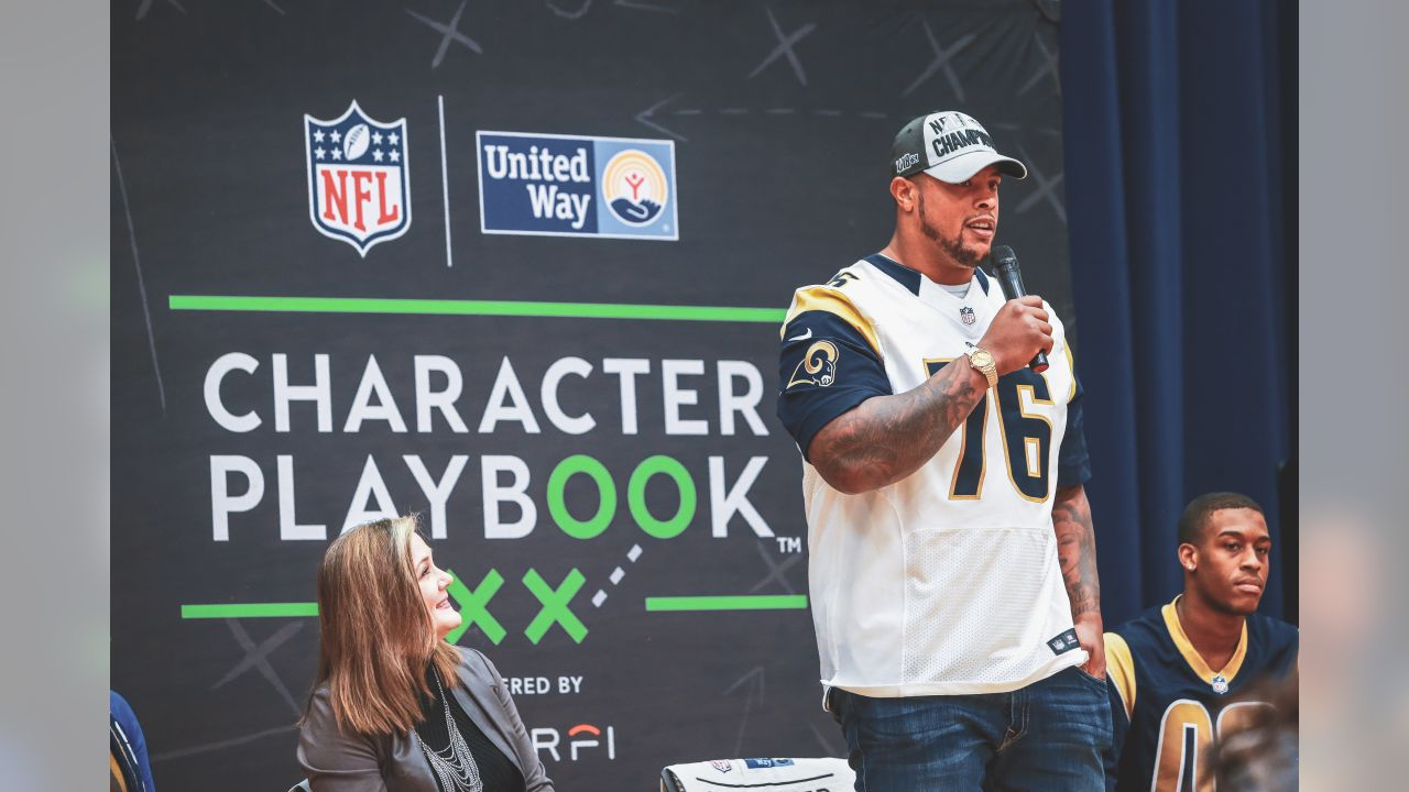 The Los Angeles Rams and United Way of Greater Los Angeles visit Bethune Middle School in South LA to host Character Playbook focused on the importance of character, healthy relationships, and making schools kinder spaces for all students. Rams Guard Rodger Saffold (76) and Rams Cheerleaders join in the discussion sharing scenarios, ideas, and answering students questions. Tuesday, December 4, 2018, Los Angeles, CA. (Will Navarro/Rams)