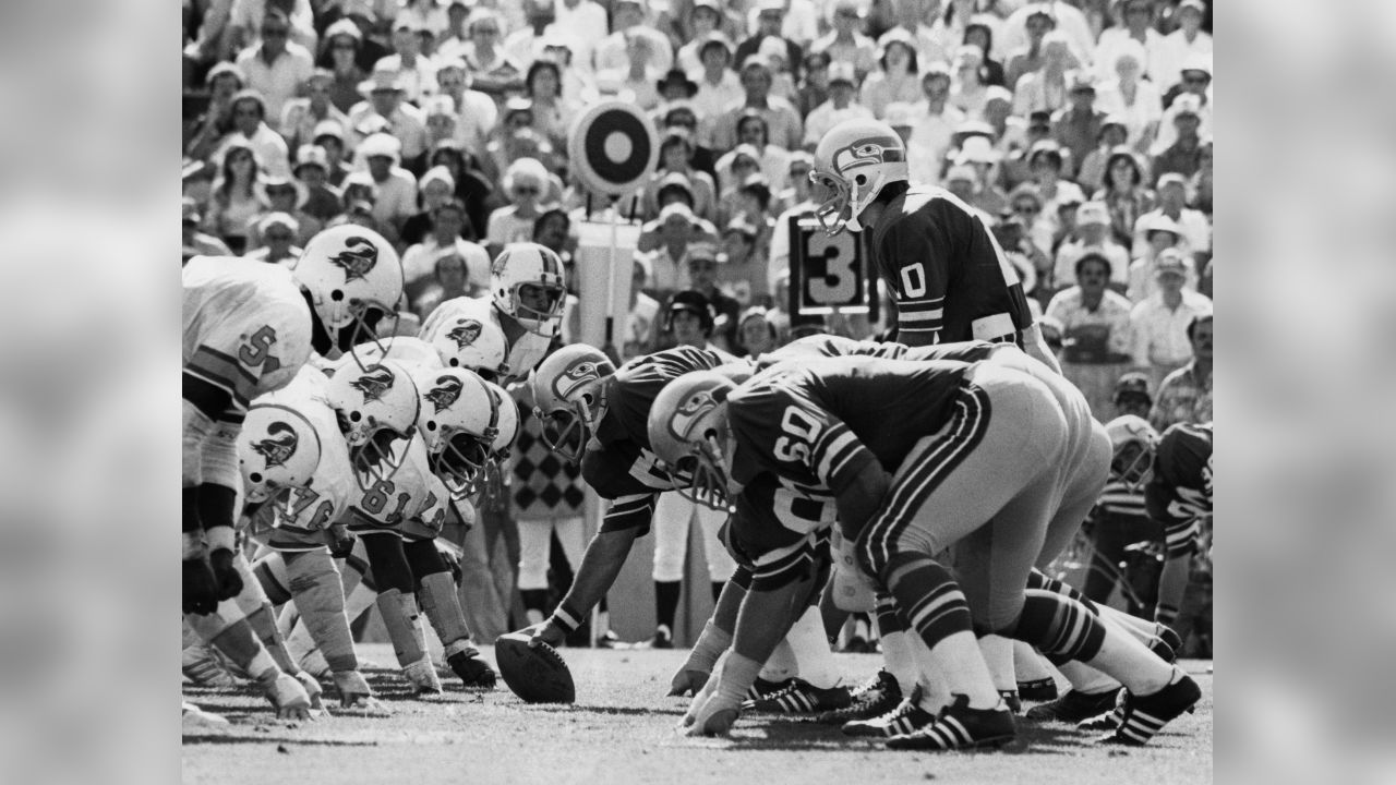 Seattle Seahawks quarterback Jim Zorn (10) prepares to take the snap from center Art Kuehn (54) as Tampa Bay Buccaneers linebacker Dewey Selmon and nose tackle Dave Pear (76) line up in a three-point stance during an NFL game in Tampa, Fla., Oct. 17, 1976.  The Seahawks defeated the Buccaneers 13-10 in a battle of NFL expansion teams. (AP Photo/NFL Photos)