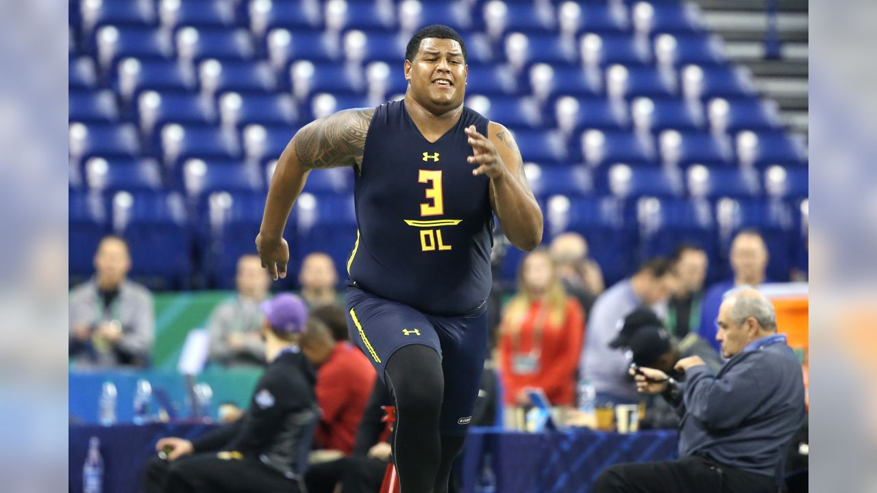 Southern California offensive tackle Zach Banner competes in the 40-yard dash at the 2017 NFL football scouting combine Friday, March 3, 2017, in Indianapolis. (AP Photo/Gregory Payan)