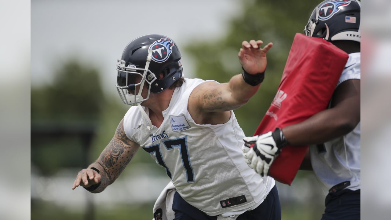 NASHVILLE, TN - JUNE 11, 2019 - Taylor Lewan #77 of Tennessee Titans during OTA practice in Nashville, TN. Photo By Donald Page/Tennessee Titans