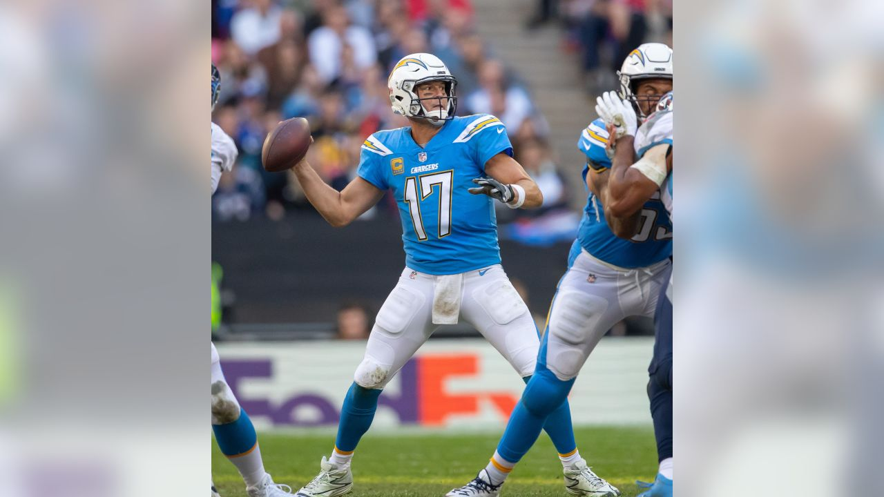 17 Philip Rivers Powder Blue Jersey Worn Week 7 vs. Tennessee Titans in London. Click here to place a bid.