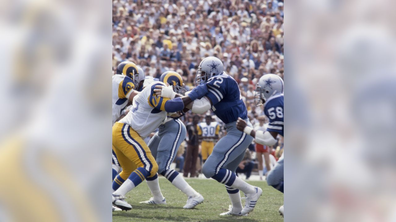 "Dallas Cowboys defensive end Ed ""Too Tall"" Jones (72) is blocked by Rams offensive tackle John Williams (75) in a 14 to 27 Dallas Cowboys loss to the Los Angeles Rams on September 17, 1978 at Los Angeles Memorial Coliseum in Los Angeles, California. (AP Photo/NFL Photos)"