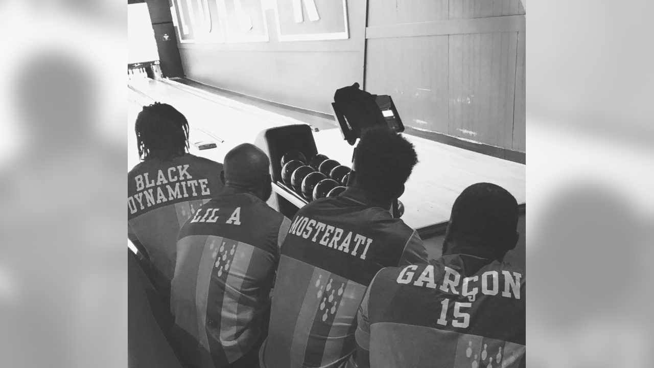 Dekoda Watson, Aldrick Robinson, Raheem Mostert and Pierre Garçon started a bowling team. Follow @raheemmostert on Instagram.